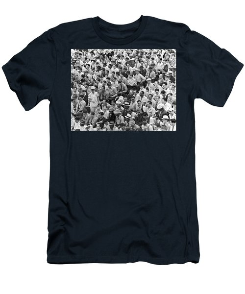 Baseball Fans In The Bleachers At Yankee Stadium. Men's T-Shirt (Slim Fit) by Underwood Archives