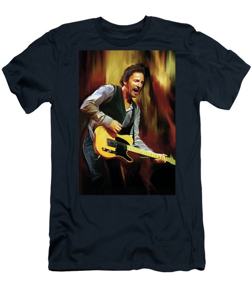Bruce Springsteen Artwork Men's T-Shirt (Slim Fit) by Sheraz A