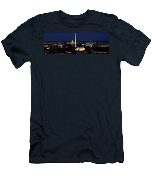 Buildings Lit Up At Night, Washington Men's T-Shirt (Slim Fit) by Panoramic Images