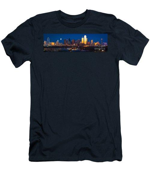 Dallas Skyline Panorama Men's T-Shirt (Slim Fit) by Inge Johnsson