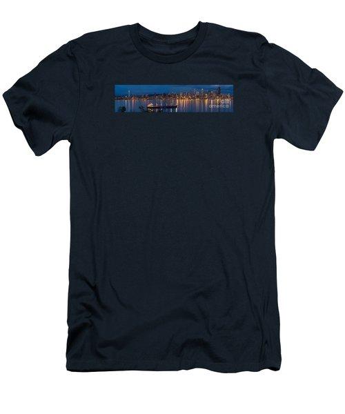 Elliott Bay Seattle Skyline Night Reflections  Men's T-Shirt (Slim Fit) by Mike Reid