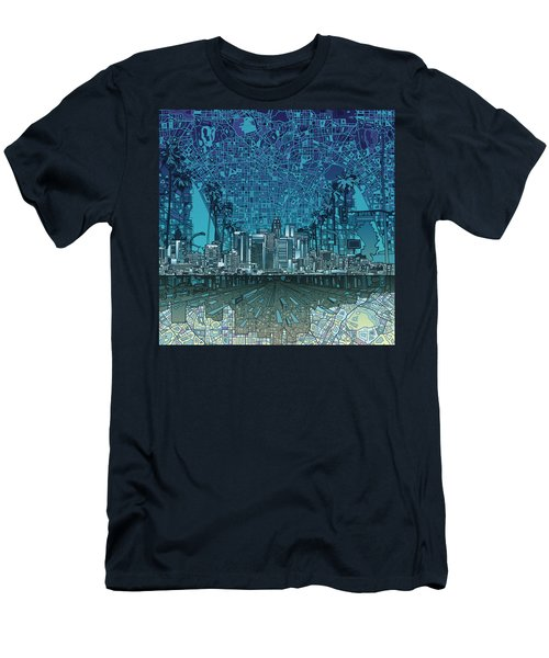 Los Angeles Skyline Abstract 5 Men's T-Shirt (Slim Fit) by Bekim Art
