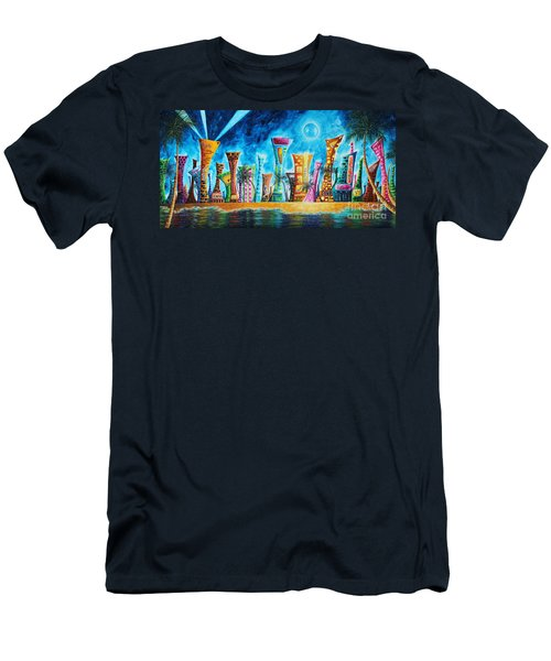Miami City South Beach Original Painting Tropical Cityscape Art Miami Night Life By Madart Absolut X Men's T-Shirt (Slim Fit) by Megan Duncanson
