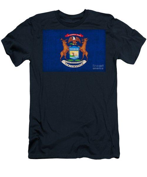 Michigan State Flag Men's T-Shirt (Slim Fit) by Pixel Chimp