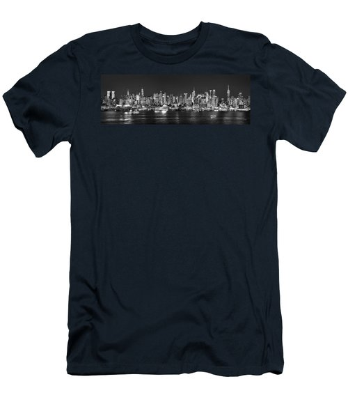 New York City Nyc Skyline Midtown Manhattan At Night Black And White Men's T-Shirt (Slim Fit) by Jon Holiday