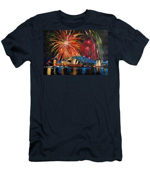 Sydney Silvester Fireworks At New Year Men's T-Shirt (Slim Fit) by M Bleichner