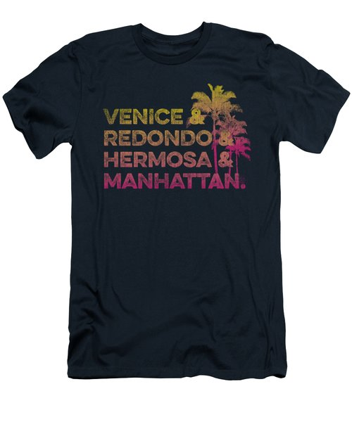 Venice And Redondo And Hermosa And Manhattan Men's T-Shirt (Slim Fit) by SoCal Brand