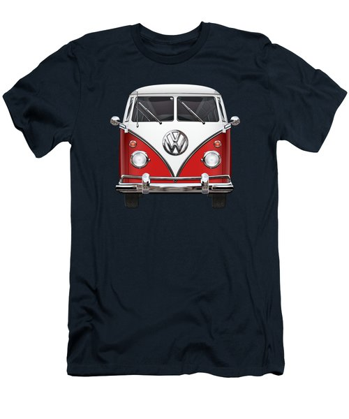 Volkswagen Type 2 - Red And White Volkswagen T 1 Samba Bus Over Green Canvas  Men's T-Shirt (Slim Fit) by Serge Averbukh