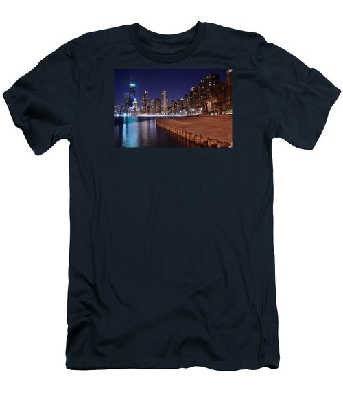 Chicago From The North Men's T-Shirt (Slim Fit) by Frozen in Time Fine Art Photography
