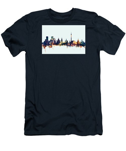 Moscow Russia Skyline Men's T-Shirt (Slim Fit) by Michael Tompsett