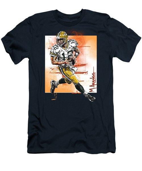 Aaron Rodgers Scrambles Men's T-Shirt (Slim Fit) by Maria Arango