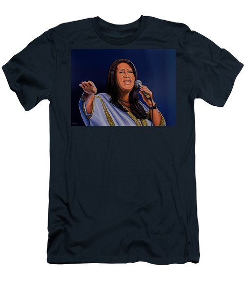 Aretha Franklin Painting Men's T-Shirt (Slim Fit) by Paul Meijering
