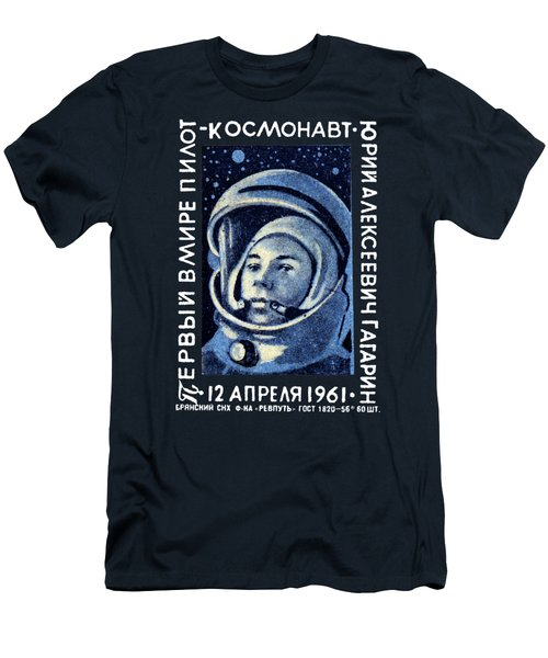 1961 First Man In Space, Yuri Gagarin Men's T-Shirt (Slim Fit) by Historic Image