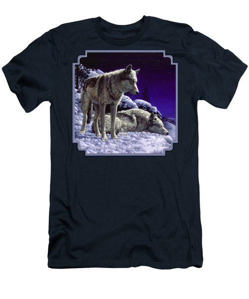 Wolf Painting - Night Watch Men's T-Shirt (Slim Fit) by Crista Forest