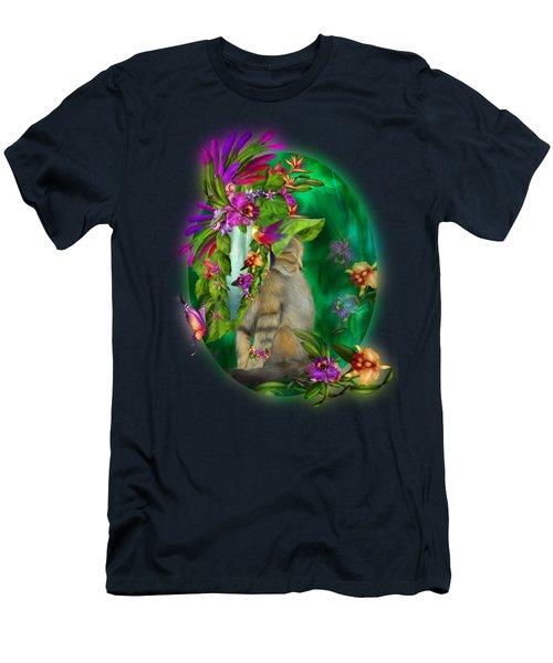 Cat In Tropical Dreams Hat Men's T-Shirt (Slim Fit) by Carol Cavalaris