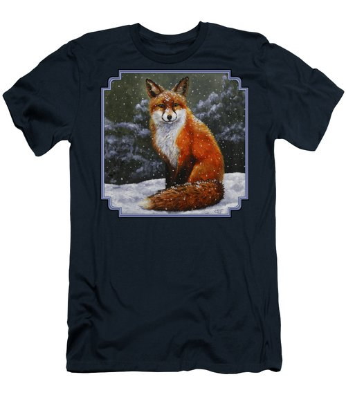 Snow Fox Men's T-Shirt (Slim Fit) by Crista Forest