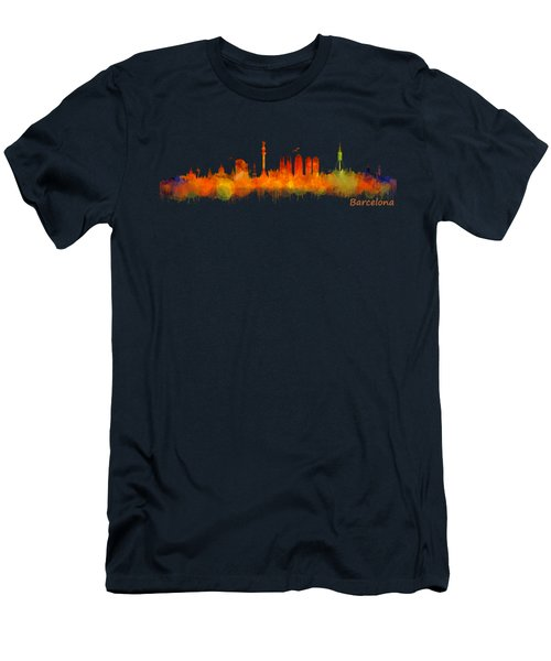 Barcelona City Skyline Hq V2 Men's T-Shirt (Slim Fit) by HQ Photo