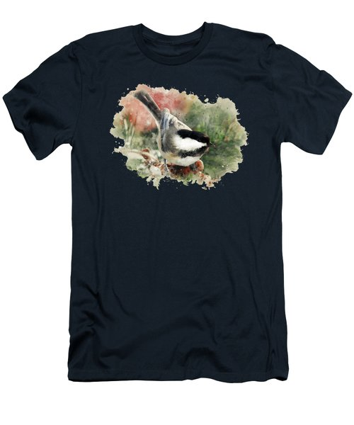 Beautiful Chickadee - Watercolor Art Men's T-Shirt (Slim Fit) by Christina Rollo