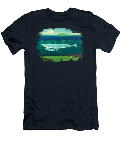 Blue Whale Men's T-Shirt (Slim Fit) by David Ardil