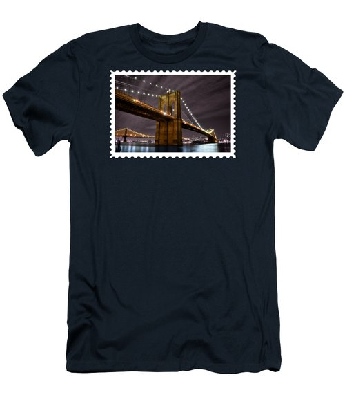 Brooklyn Bridge At Night New York City Men's T-Shirt (Slim Fit) by Elaine Plesser
