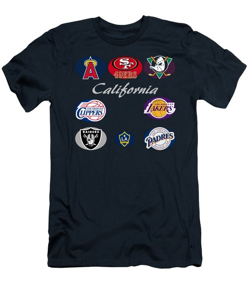 California Professional Sport Teams Collage  Men's T-Shirt (Slim Fit) by Movie Poster Prints
