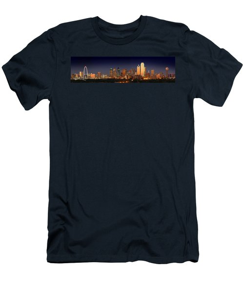 Dallas Skyline At Dusk  Men's T-Shirt (Slim Fit) by Jon Holiday