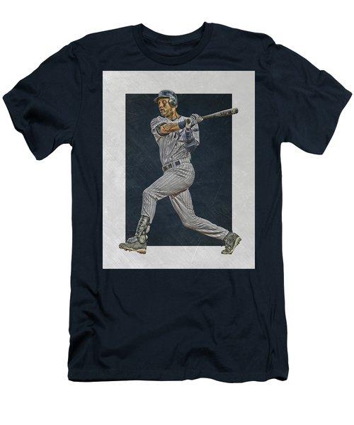 Derek Jeter New York Yankees Art 2 Men's T-Shirt (Slim Fit) by Joe Hamilton
