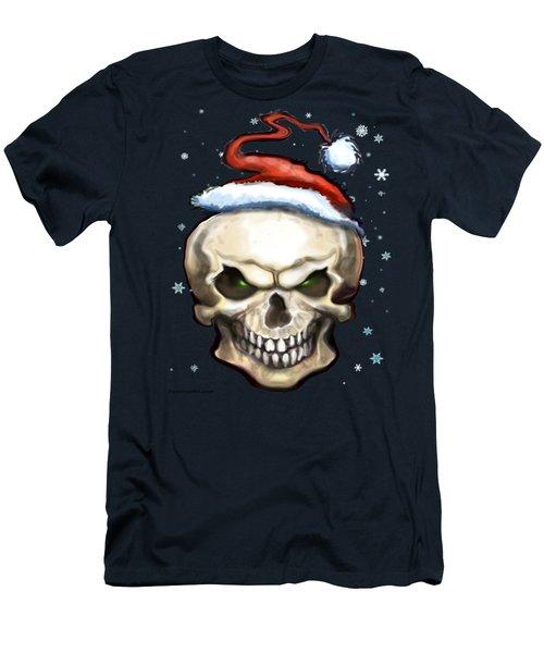 Evil Christmas Skull Men's T-Shirt (Slim Fit) by Kevin Middleton