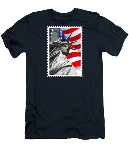 Graphic Statue Of Liberty With American Flag Men's T-Shirt (Slim Fit) by Elaine Plesser