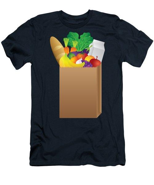 Grocery Paper Bag Of Food Illustration Men's T-Shirt (Slim Fit) by Jit Lim