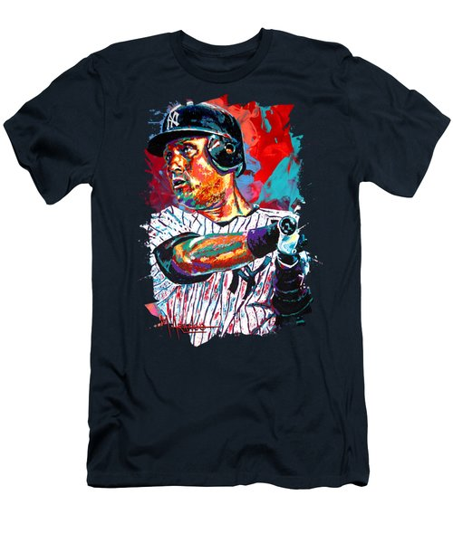Jeter At Bat Men's T-Shirt (Slim Fit) by Maria Arango