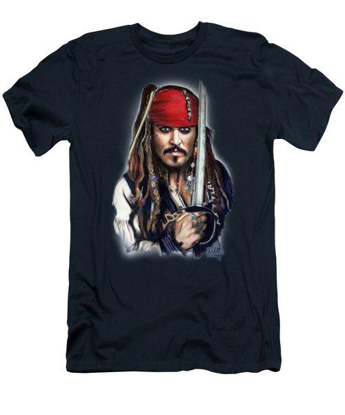 Johnny Depp As Jack Sparrow Men's T-Shirt (Slim Fit) by Melanie D