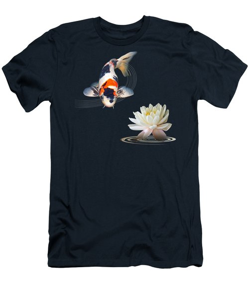 Koi Carp Abstract With Water Lily Square Men's T-Shirt (Slim Fit) by Gill Billington