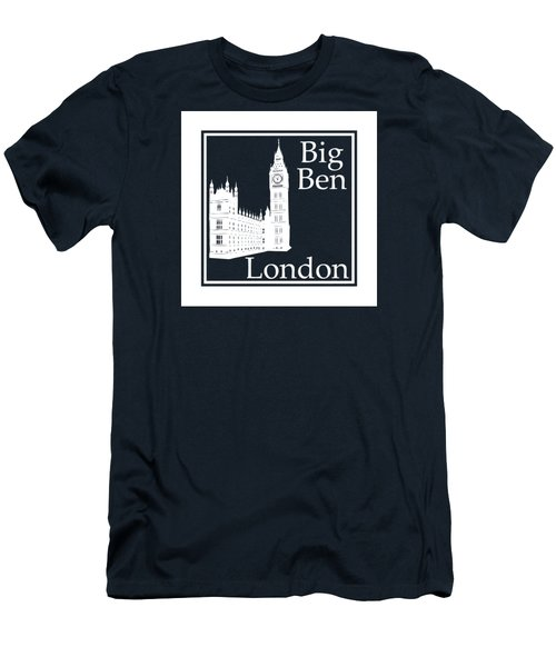 London's Big Ben In White - Inverse  Men's T-Shirt (Slim Fit) by Custom Home Fashions
