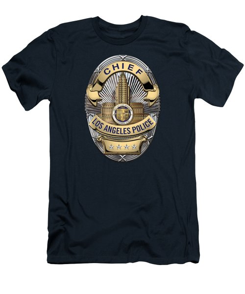 Los Angeles Police Department  -  L A P D  Chief Badge Over Blue Velvet Men's T-Shirt (Slim Fit) by Serge Averbukh