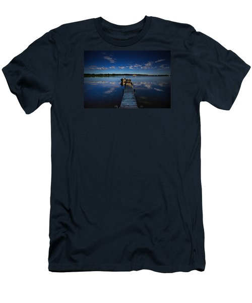 Midnight At Shady Shore On Moose Lake Minnesota Men's T-Shirt (Slim Fit) by Alex Blondeau