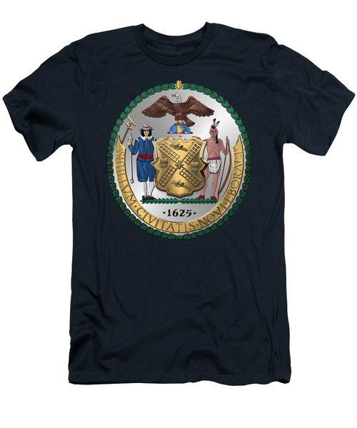 New York City Coat Of Arms - City Of New York Seal Over Blue Velvet Men's T-Shirt (Slim Fit) by Serge Averbukh