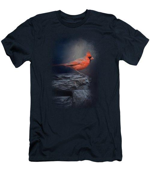 Redbird On The Rocks Men's T-Shirt (Slim Fit) by Jai Johnson