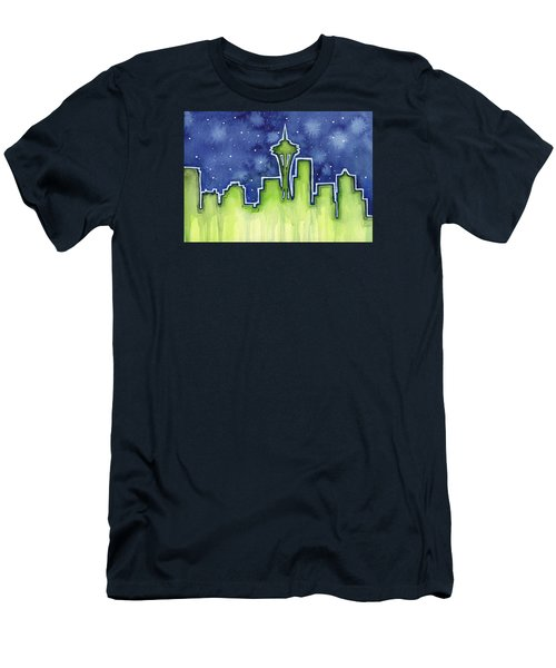 Seattle Night Sky Watercolor Men's T-Shirt (Slim Fit) by Olga Shvartsur