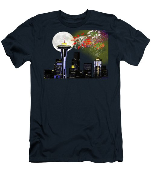Seattle Skyline Men's T-Shirt (Slim Fit) by Methune Hively