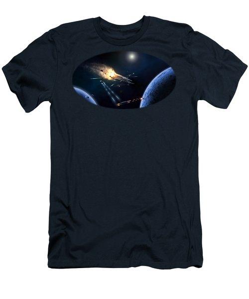 Space Battle I Men's T-Shirt (Slim Fit) by Carlos M R Alves