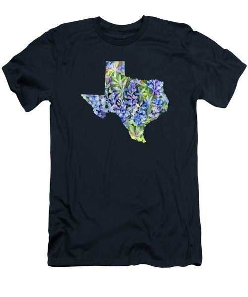 Texas Blue Texas Map On White Men's T-Shirt (Slim Fit) by Hailey E Herrera