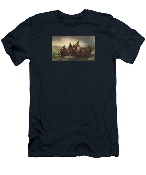 Washington Crossing The Delaware Painting  Men's T-Shirt (Slim Fit) by Emanuel Gottlieb Leutze