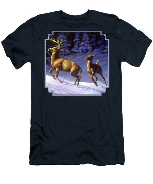 Whitetail Deer Painting - Startled Men's T-Shirt (Slim Fit) by Crista Forest
