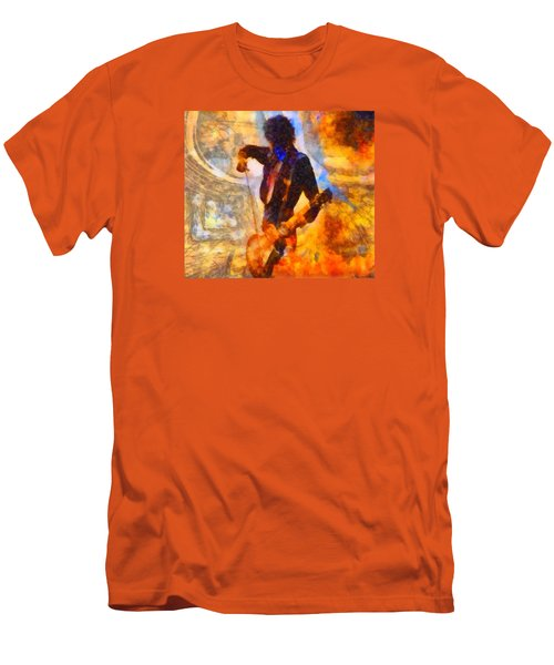 Jimmy Page Playing Guitar With Bow Men's T-Shirt (Slim Fit) by Dan Sproul