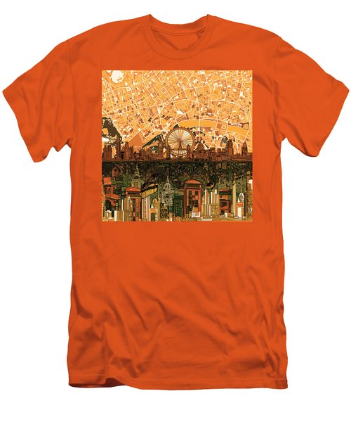 London Skyline Abstract 7 Men's T-Shirt (Slim Fit) by Bekim Art