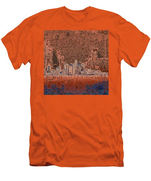 Los Angeles Skyline Abstract 7 Men's T-Shirt (Slim Fit) by Bekim Art