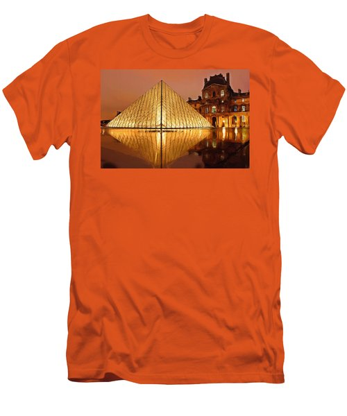 The Louvre By Night Men's T-Shirt (Slim Fit) by Ayse Deniz