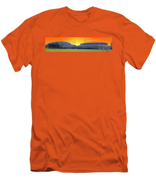 The Old And New Yankee Stadiums Side By Side At Sunset Men's T-Shirt (Slim Fit) by Nishanth Gopinathan