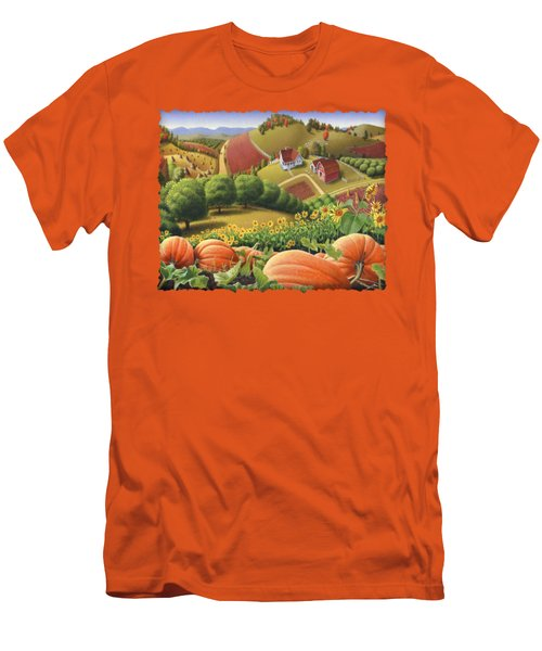 Farm Landscape - Autumn Rural Country Pumpkins Folk Art - Appalachian Americana - Fall Pumpkin Patch Men's T-Shirt (Slim Fit) by Walt Curlee